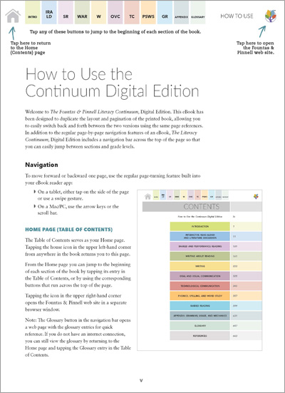 Interior Pages of The Literacy Continuum, Digital Edition