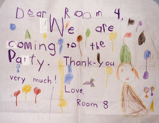 Children's writing on chart paper