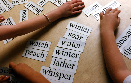 Children working with word cards