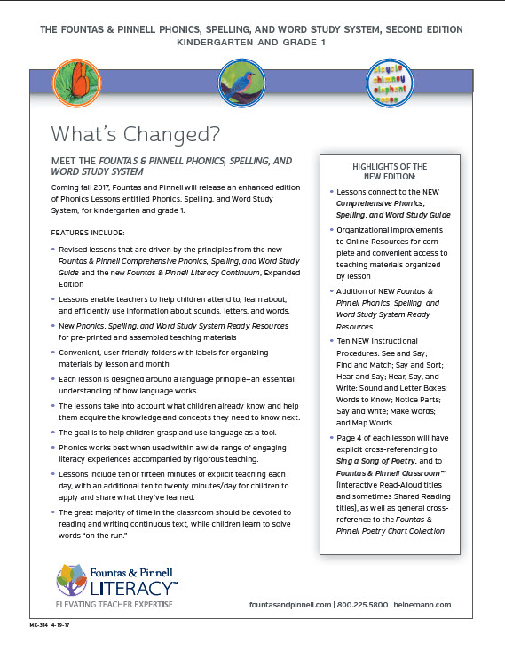 What's Changed? Meet the Fountas & Pinnell Phonics, Spelling, and Word Study System