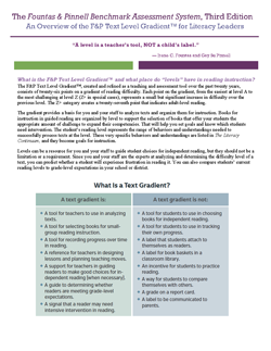 BAS 3e F&P Text Level Gradient Overview for Administrators