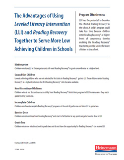 Advantages of Using LLI and Reading Recovery Together