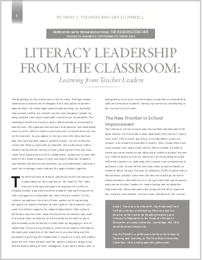 Literacy Leadership from the Classroom: Learning from Teacher Leaders