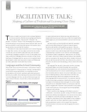 FACILITATIVE TALK: Shaping a Culture of Professional Learning Over Time