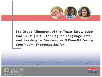 3rd Grade Alignment of Texas Knowledge and Skills (TEKS) for English Language Arts and Reading and The Literacy Continuum, Expanded Edition